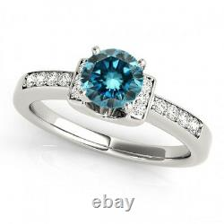0.60 Carat Blue Diamond Fancy Ring 14k Blanc Or Élégant Classy Meilleur Prix Ebay