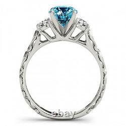 0.74 Carat Blue Si2 Round Diamond Solitaire Bague De Mariée De Mariage 14k