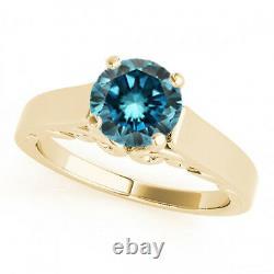 0.75 3/4 Carat Blue Si1 Round Diamond Solitaire Bague De Fiançailles 14k Or Jaune