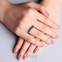 0.75 Carat Blue 5 Stone Round Diamond Solitaire Bague De Fiançailles 14k Or Blanc