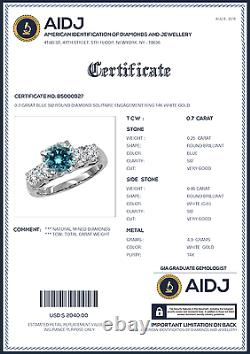 0.7 Carat Blue Si2 Round Diamond Solitaire Bague De Fiançailles 14k Or Blanc