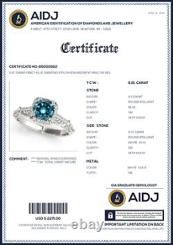 0.81 Carat Fancy Blue Diamond Bague De Fiançailles Élégante 14k Wg Meilleur Prix Asaar