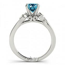 0.83 Carat Blue Diamond Solitaire Engagement 3 Stone Ring Sparkling 14k Or