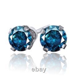14 Karat Or Blanc 1/3ct Bleu Diamant Studs