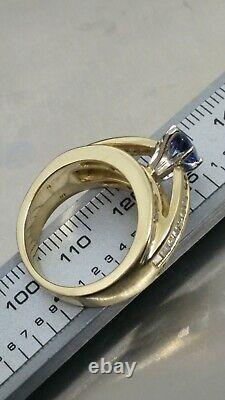 14k 2.00+ Carats Natural Blue Sapphire & Diamond Accents Ring Sz 6.5-7 10g