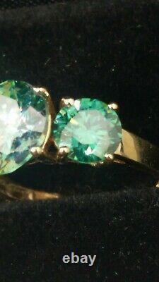 14k 3 Carats Combinés Genuine Moissanite Ring Sz 5