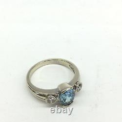 14k Blanc Or Ovale Topaz & Rond Diamant Anneau Naturel 1.50 Carats Taille 6.25