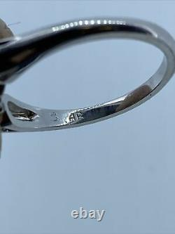 14k Or Blanc 0,50 Carat Saphir Bleu Et Bague Diamant