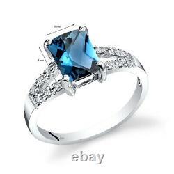 14k Or Blanc London Bleu Topaz Diamant Bague Vénitienne 1,75 Carats Taille 7