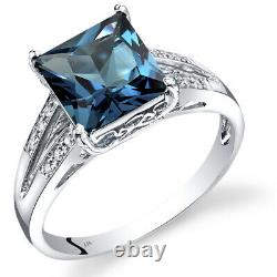 14k Or Blanc London Bleu Topaz Diamond Ring Princesse Coupe 3 Carats Taille 7