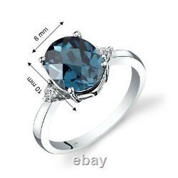 14k Or Blanc London Blue Topaz Diamond Ring 2,75 Carat Oval Cut Taille 7