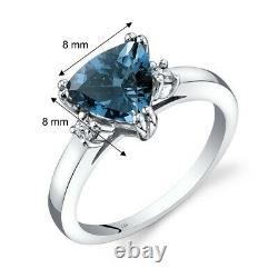 14k Or Blanc London Blue Topaz Diamond Ring Trillion Coupe 2.00 Taille Du Carat 7