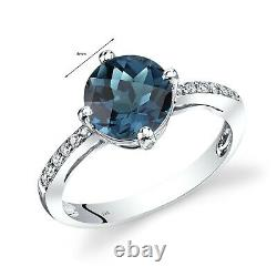 14k Or Blanc London Blue Topaz Solitaire Diamond Ring 2,5 Carats Taille 7