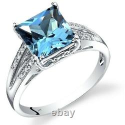 14k Or Blanc Or Suisse Bleu Topaz Diamond Ring Princesse Coupe 3 Carats Taille 7