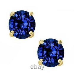 14k Solid Yellow Gold Septembre Blue Sapphire Round Cut Stud Boucles D'oreilles Screw Back