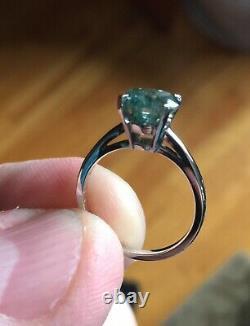 14k White Gold Fancy Deep Blue Green Diamond Ring 2+ Carats Egl Certifié