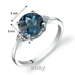 14k White Gold London Blue Topaz Diamond Ring 2.25 Carat Round Cut Taille 7