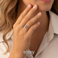 14k White Gold Swiss Blue Topaz Diamond Ring 2.25 Carat Taille De Coupe Ronde 7