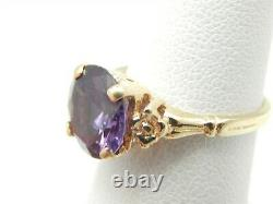 14k Yellow Gold 4 Carat Round Purple Blue Mystic Topaz Solitaire Ring Taille 5.25