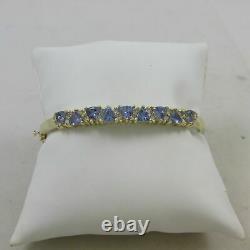 14kt Or Jaune Plus De 5 Carat Tanzanite Et Bracelet Bangle Diamant