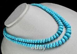 15mm Perles Rondes Turquoise Réelles Naturelles 2 L 429 Carats Collier En Argent Gemme