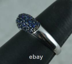 18 Carat White Gold Vvs Diamond & Blue Sapphire Bombe Cluster Band Ring