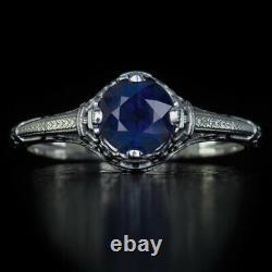 1920 Vintage Nouveau Round 1 Carat Blue Sapphire Filigree Fine Ring Solitaire