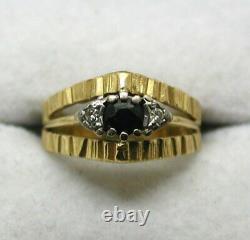 1970 Vintage Lovely 18 Carats Saphir Or Et Diamond Taille De La Bague K. 1/2 À L