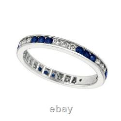 1.05 Carat Saphir Naturel Et Bague D'éternité Diamant 14k Or Blanc