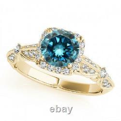 1.06 Carat Fancy Blue Diamond Bague De Fiançailles New Style 14k Yellow Gold Classy