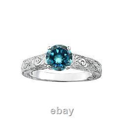 1.0 Carat Bleu Rond Si3-i1 Diamond Solitaire Bague Nuptiale 14k Wg Asaar