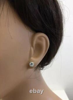 1.23 Carat Bleu Naturel Aquamarine En 14k Boucles D'oreilles En Or Jaune Massif