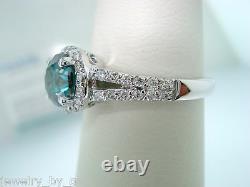 1.25 Carat Amélioré Bleu Et Blanc Bague De Fiançailles Diamant 14k Blanc Or Halo