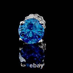 1 /2 Carat Blue Sapphire Single Stud Mens 14k Boucles D'oreilles En Or Blanc