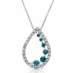 1/2 Cttw Pear Forme Bleu Et Blanc Diamant Pendentif Collier 14k Or Blanc Avec