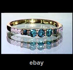 1/3ct Bleu & Blanc Diamant Rond & Baguette 9carat Or Jaune Taille De L'anneau N-o/7