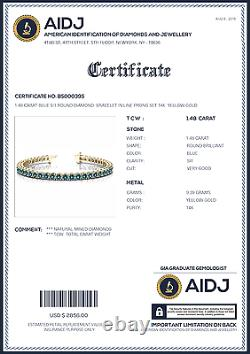 1.48 Carat Si1 Blue Round Diamond Pong Set Bracelet 14k Or Jaune Femmes