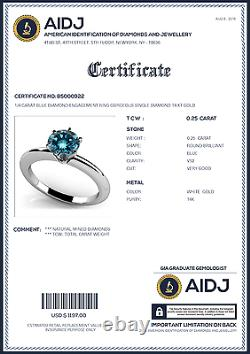 1/4 Carat Blue Diamond Bague De Fiançailles Gorgeous Single Diamond 14 K Or
