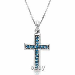 1/4 Cttw Bleu Diamant Pendentif Collier 14k Or Blanc Avec Chaîne