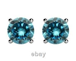 1.50 Carat Fancy Blue Diamond Paire Stud Screw Back Boucles D'oreilles En 14k Wg Si1 Asaar