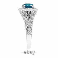1.57 Carat Amélioré Bague De Fiançailles En Diamant Bleu 14k Blanc Or Halo Fait Main