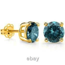 1/5 Carat Blue Diamond 14kt Boucles D'oreilles En Or Massif Stud