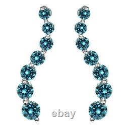 1.5 Carat Blue Round Diamond Journey Boucles D'oreilles De Boucles De Danse 14k Whte Gold