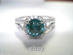 1.70 Carat Enhanced Blue Diamond Bague De Fiançailles 14k Or Blanc Certifié Halo