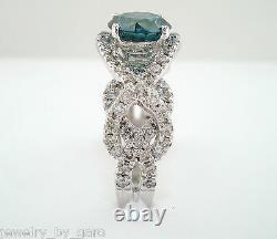 1.92 Carat Enhanced Blue Diamond Bague De Fiançailles 14k Or Blanc Unique Certifié