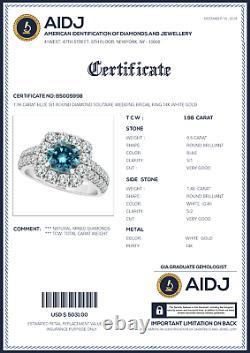 1.98 Carat Blue Si1 Round Diamond Solitaire Wedding Bridal Ring 14k Or Blanc
