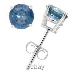 1 Boucles D'oreille Saphir Bleu 14k Blanc Or Rond Avec Push Backs