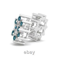 1 Carat Blue Round Diamond Solitaire Stud Boucle D'oreilles Vestes Halo 14k Wg Asaar