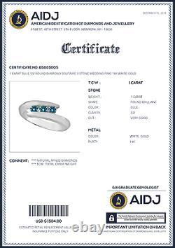 1 Carat Blue Si2 Round Diamond Solitaire 3 Stone Wedding Ring 14k Or Blanc