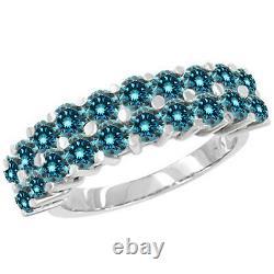 1 Carat Blue Si2 Round Diamond Solitaire Bague De Fiançailles 14k Or Blanc